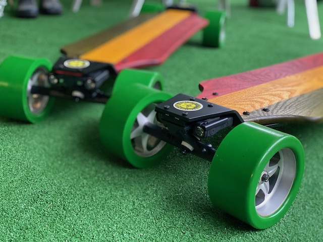 Rasta Wood DonkBoard: Yellow Heart Oak Wood Stained Green and Red